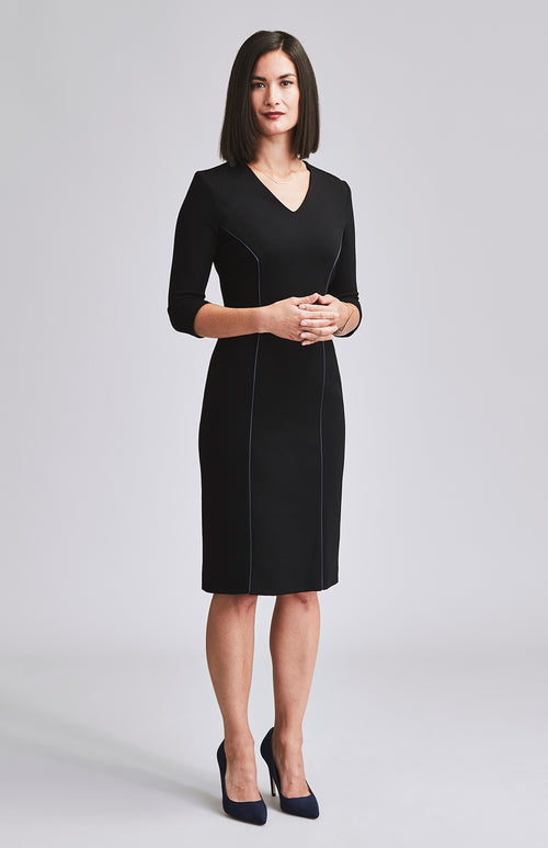DECISIVE LEATHER TRIM DESK-TO-DINNER DRESS