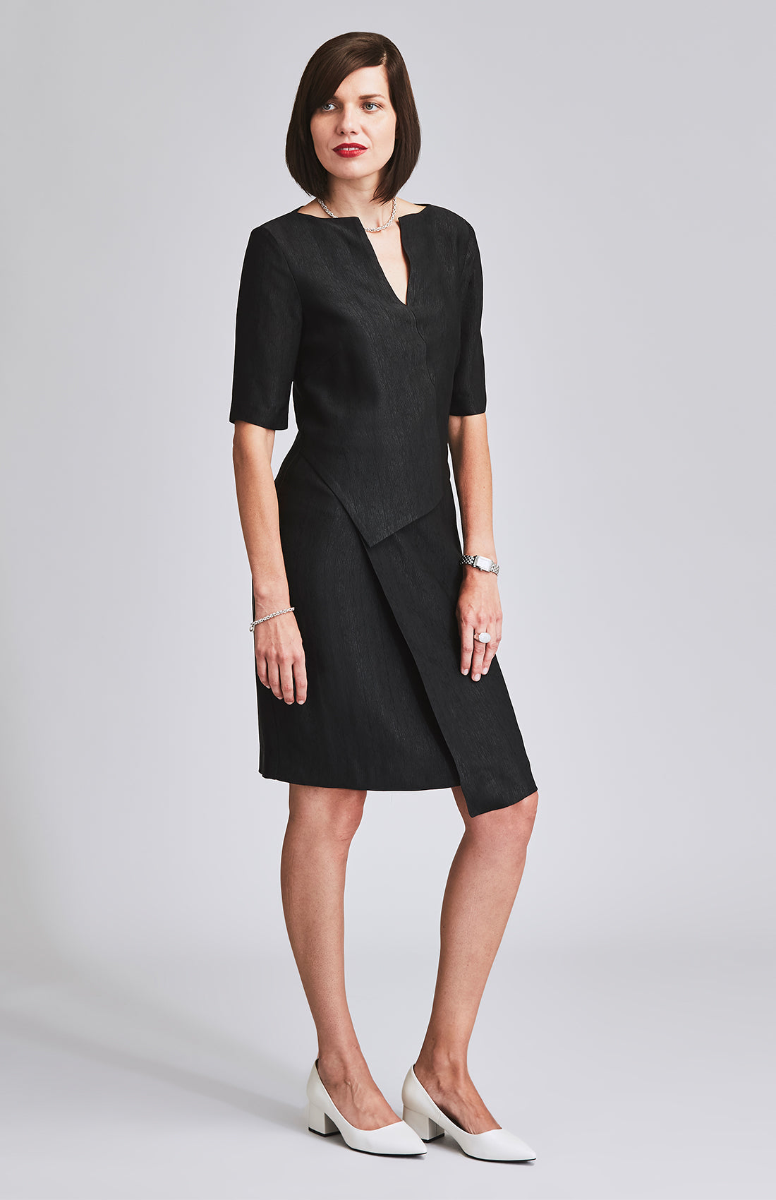 CERTAIN TEXTURED PEPLUM DRESS BLACK