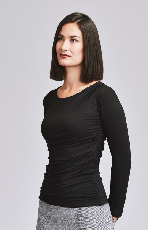AVID RUCHED JERSEY TOP BLACK
