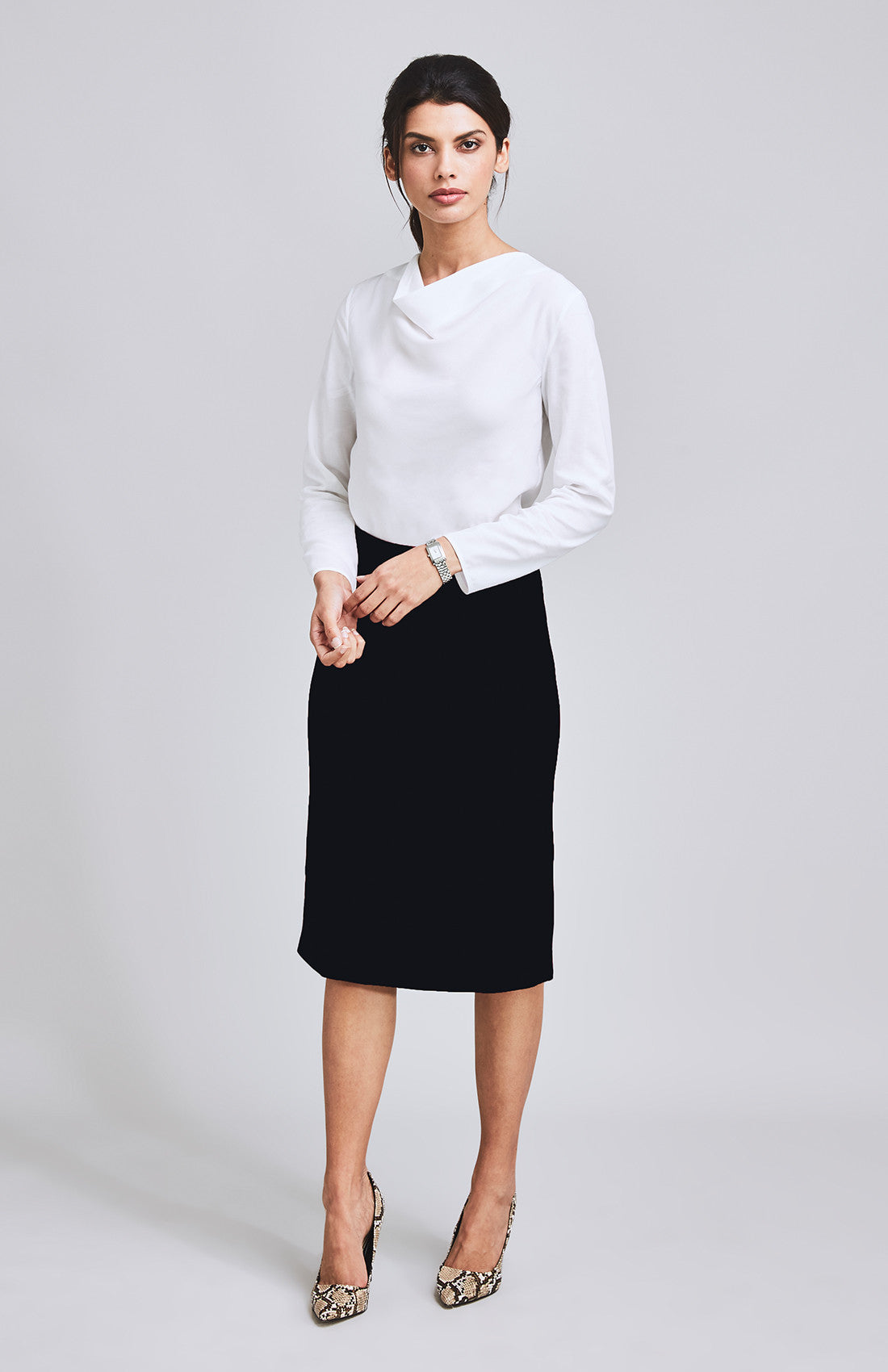 INSPIRED A-LINE MIDI SKIRT BLACK