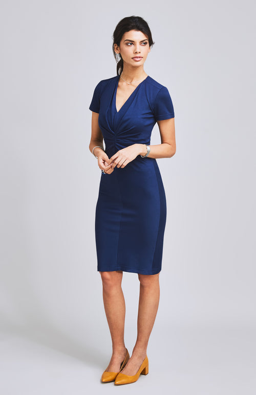 METTLE FLATTERING TEXTURED JERSEY DRESS BLUE