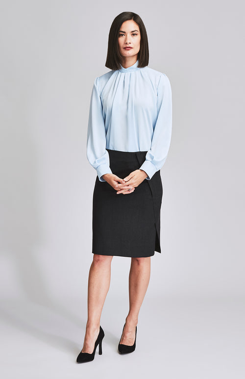 WORTHY SIDE SPLIT WOOL PENCIL SKIRT CHARCOAL