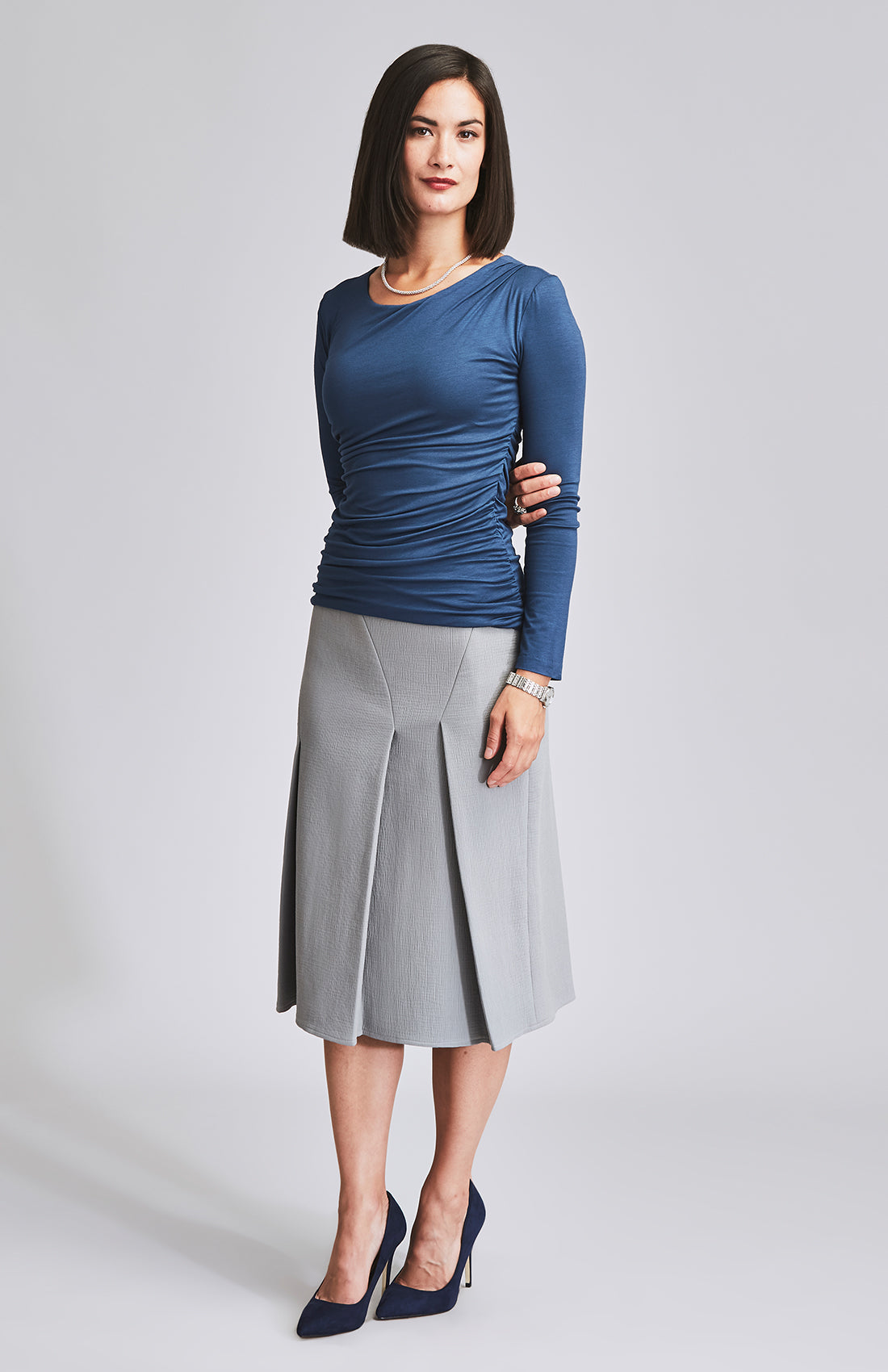 SPIRITED PLEAT & PANEL MIDI SKIRT GREY