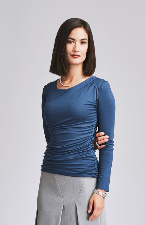 AVID RUCHED JERSEY TOP BLUE