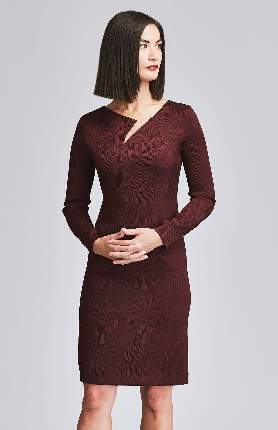 ASSIDUOUS DESK-TO-DINNER DRESS BURGUNDY