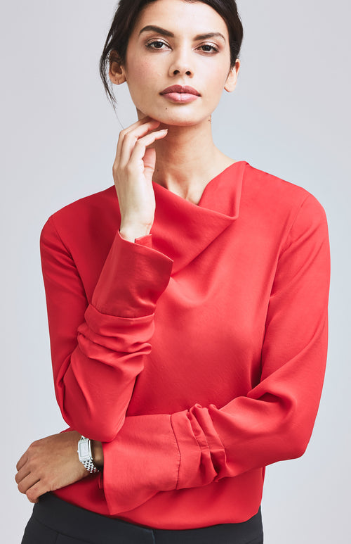 ASSERTIVE COWL NECK & RUCHED SLEEVE TOP RED