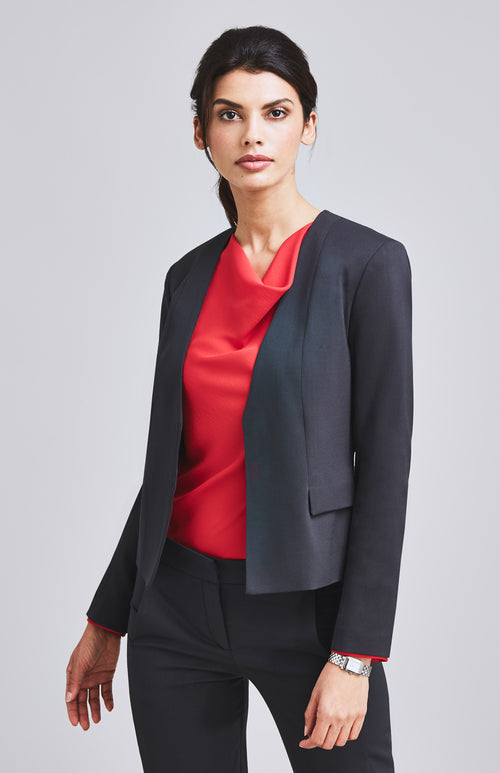 AMBITIOUS COLLARLESS FEMININE SUIT JACKET CHARCOAL