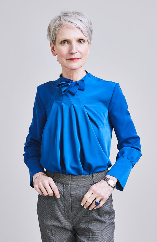 FEISTY RUFFLE NECK DRAPE OFFICE BLOUSE COBALT BLUE