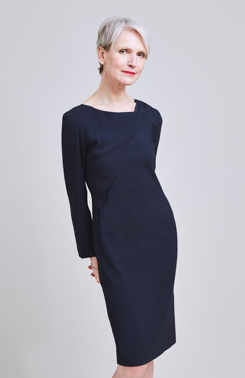 FORMIDABLE DRAPED SHIFT DRESS NAVY