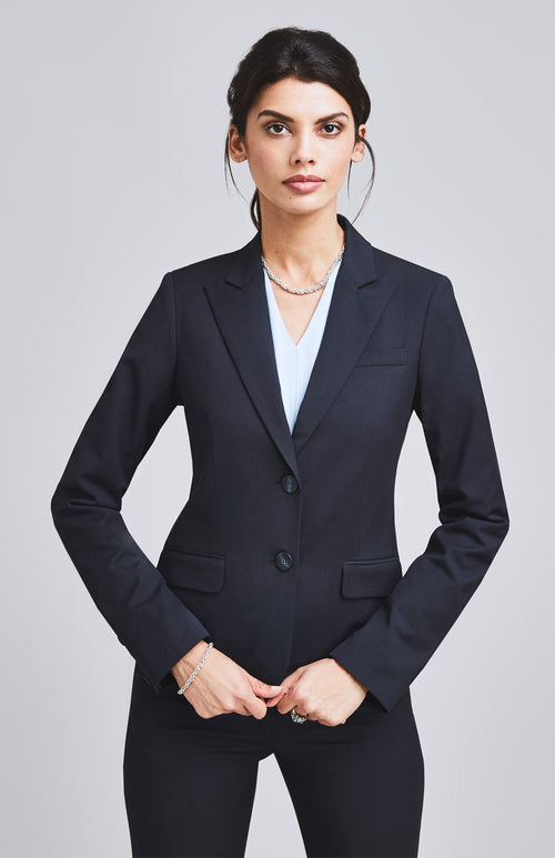 CONFIDENT TAILORED FEMININE SUIT JACKET DARK NAVY