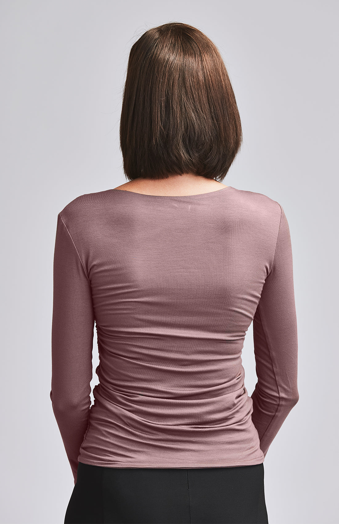 AVID RUCHED JERSEY TOP DARK PINK