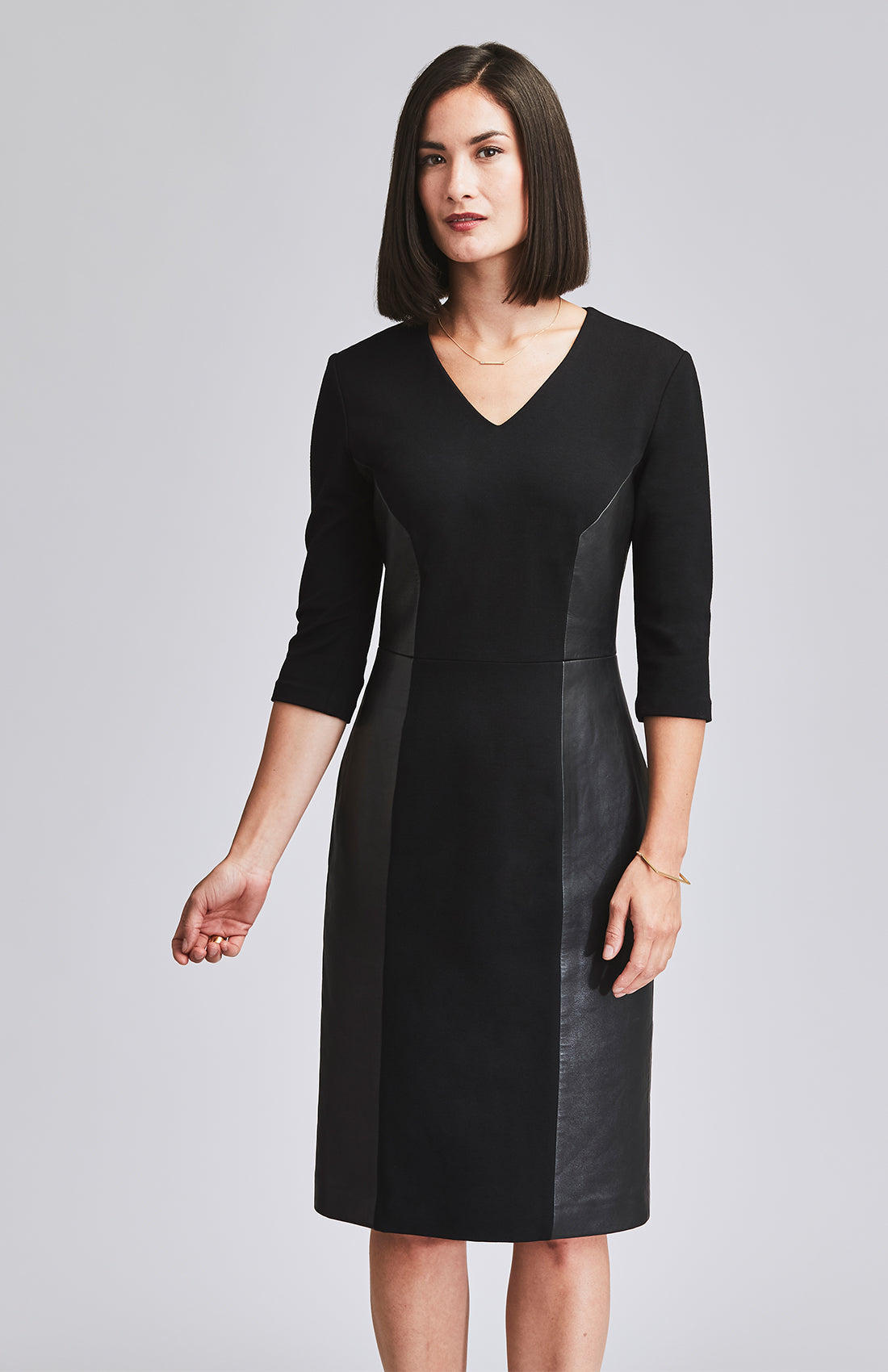 CONVINCED LEATHER PANEL AFTER-WORK DRESS