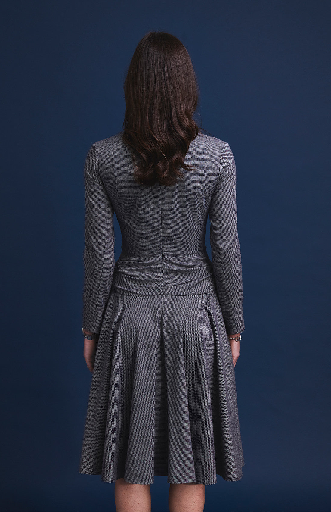 Herringbone fit and flare tailored office dress for work