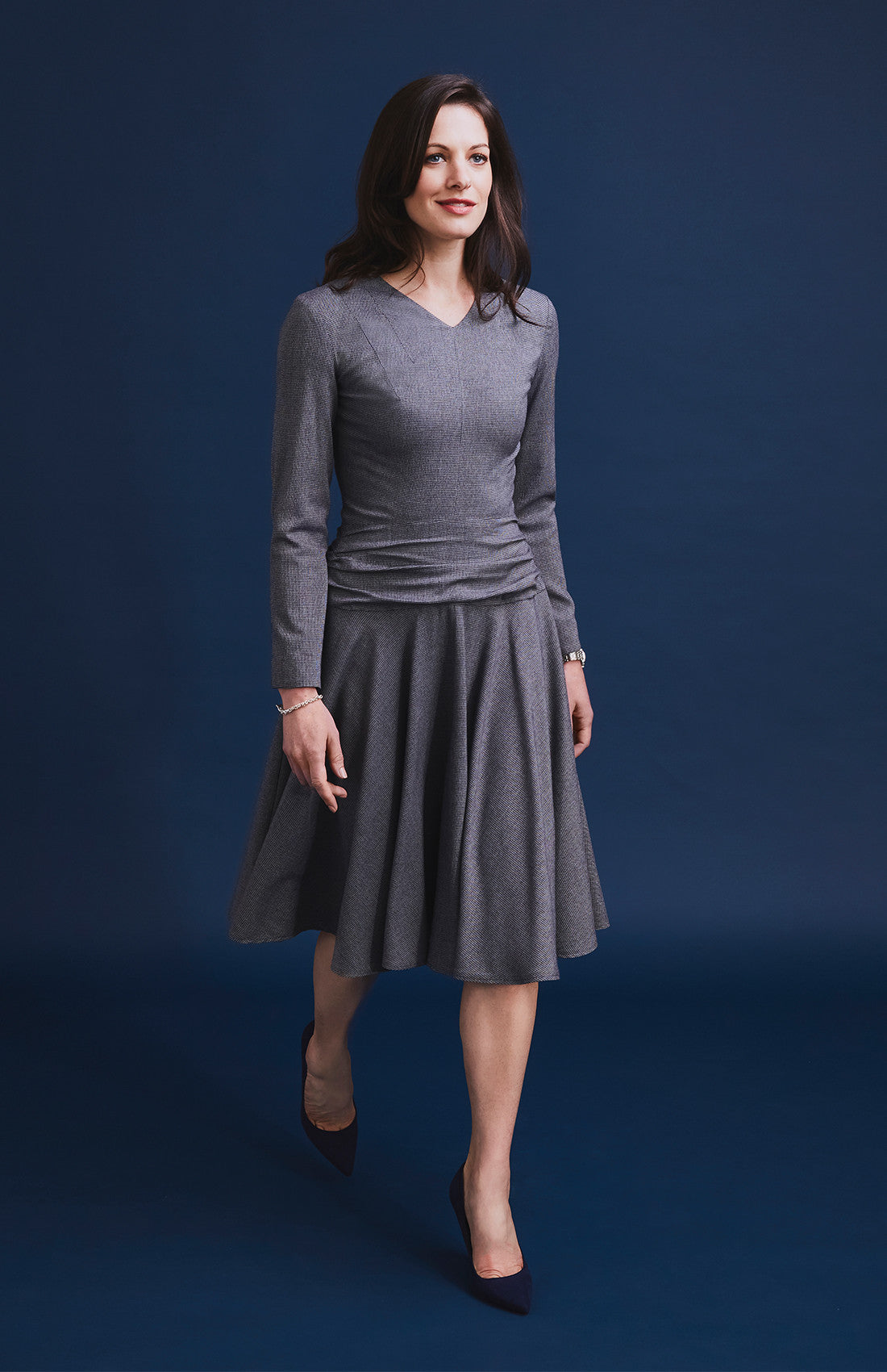 Herringbone fit and flare tailored work dress for the office