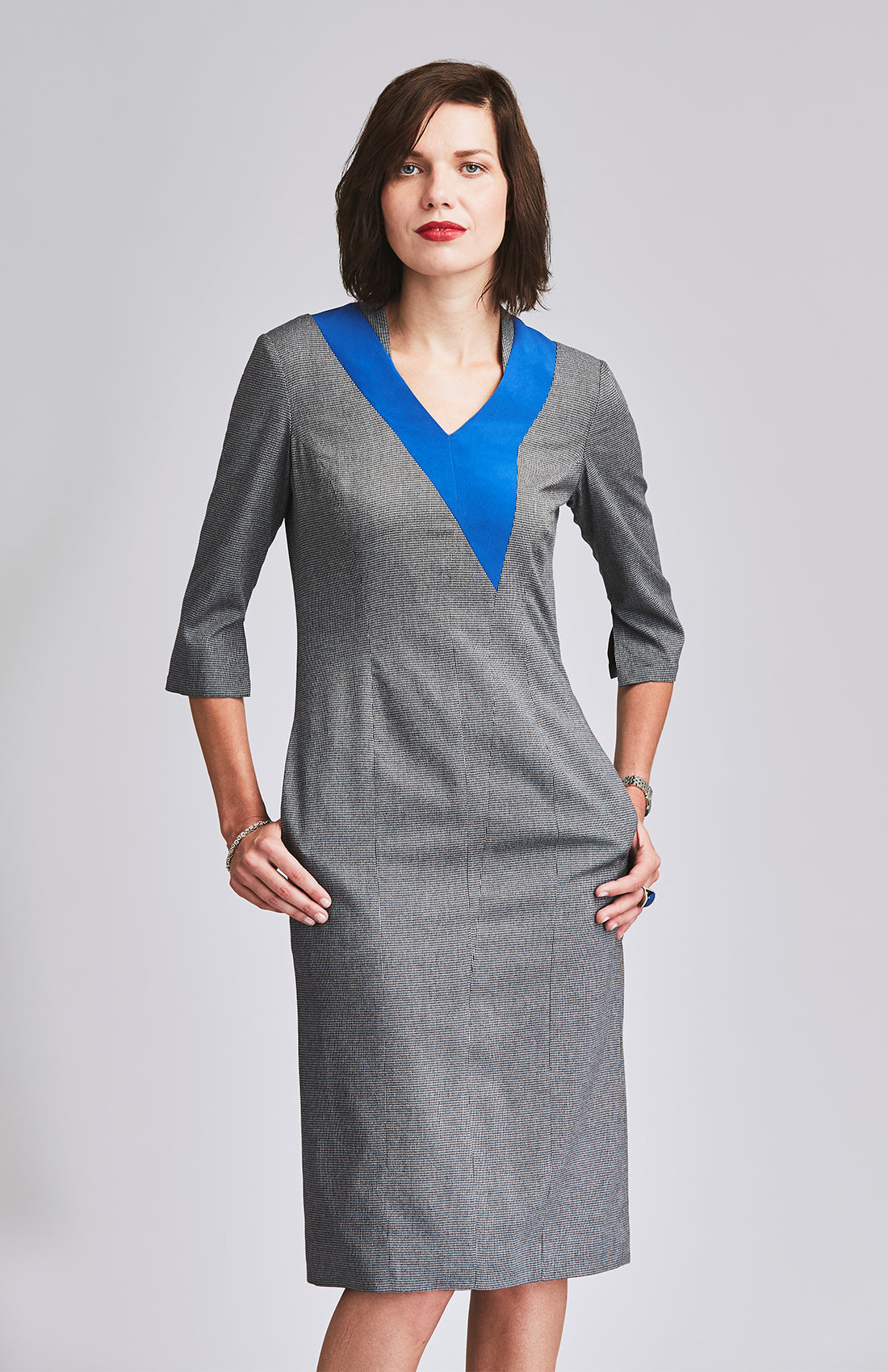 Herringbone office dress knee length