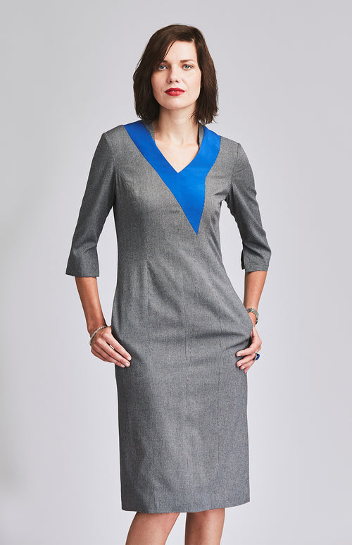 FEARLESS HERRINGBONE OFFICE DRESS WITH POCKETS