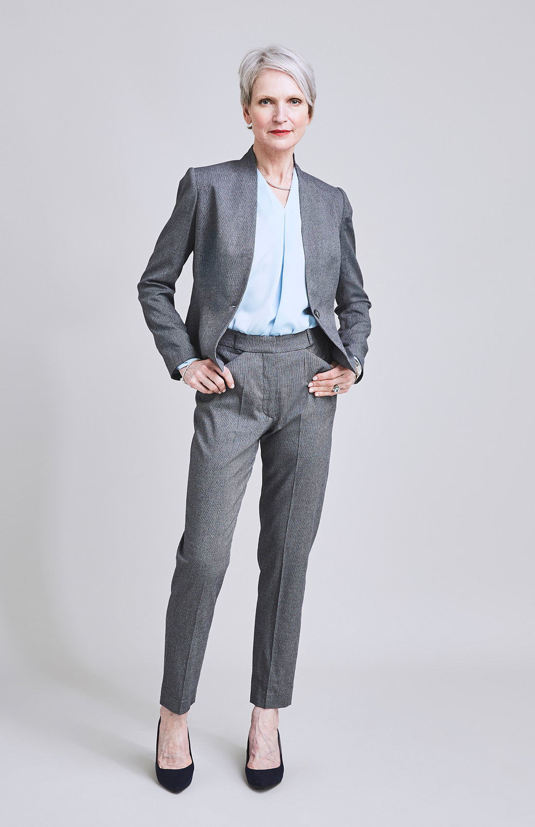 Herringbone tailored cigarette suit trouser for work