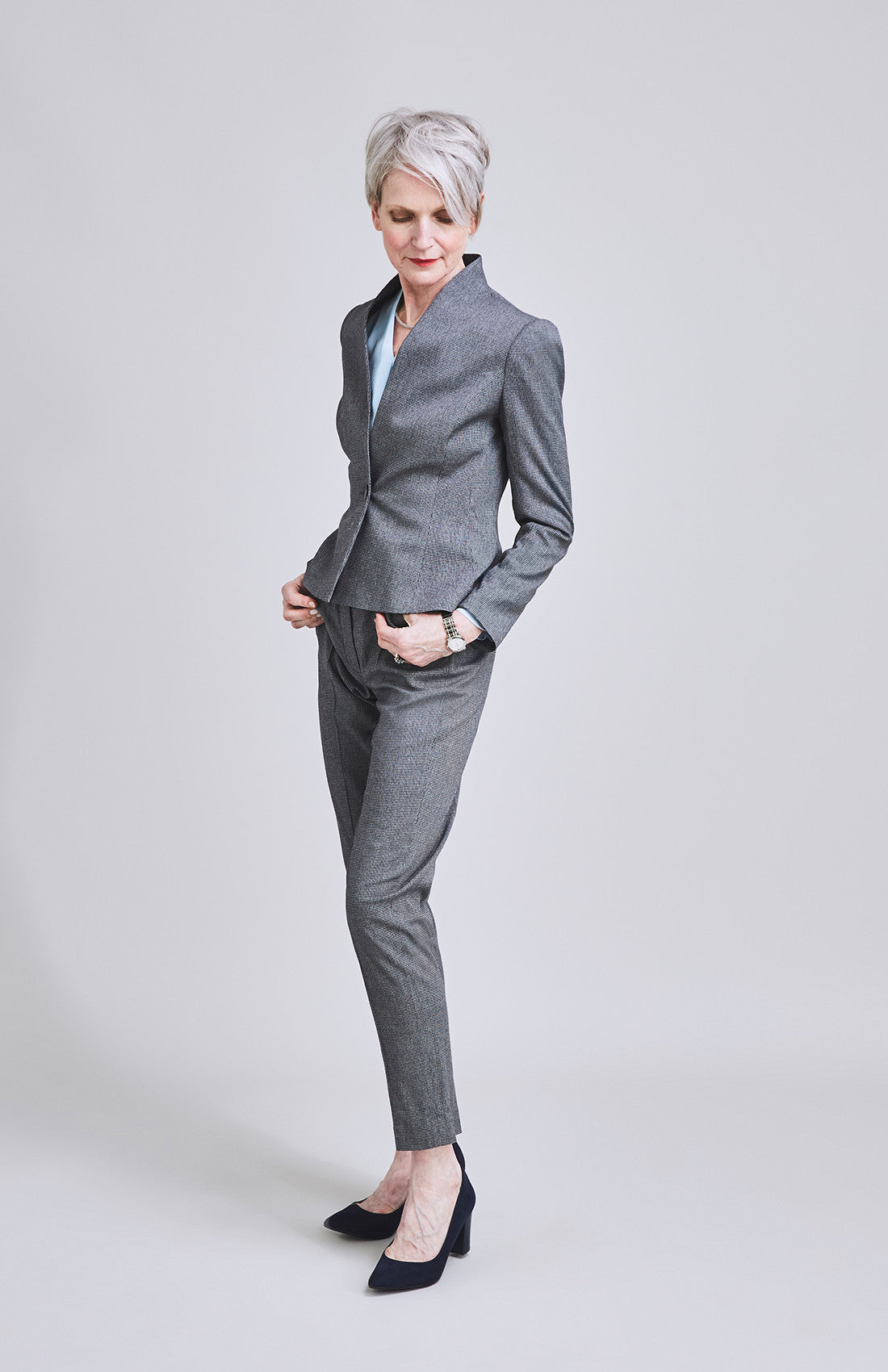 High waist herringbone tailored cigarette suit trouser for the office