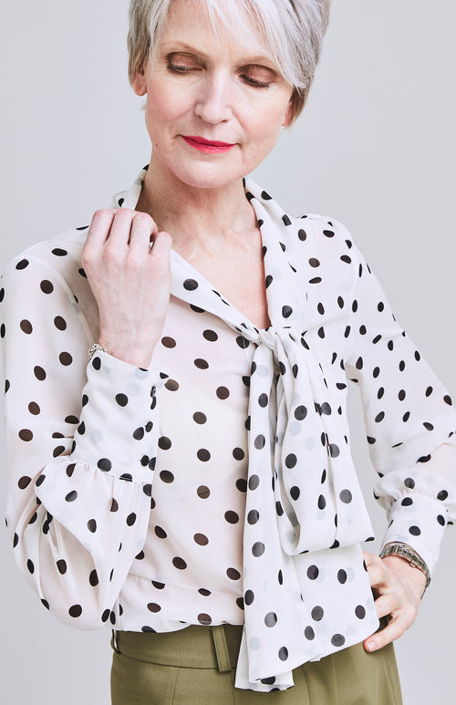 PROUD PUSSY BOW POLKA DOT BLOUSE MONOCHROME
