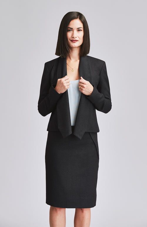WORTHY DRAPE COLLAR TAILORED WOOL JACKET CHARCOAL