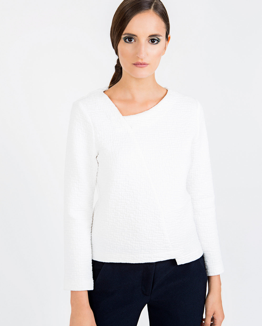 Asymmetric Textured Top Ivory