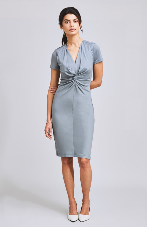 METTLE FLATTERING TEXTURED JERSEY DRESS GREY