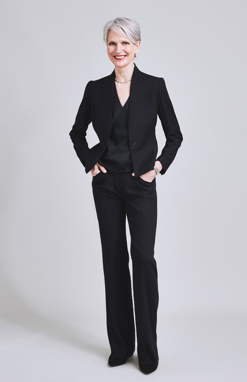 GRAVITAS TAILORED BOOTCUT WOOL BLEND SUIT TROUSER BLACK