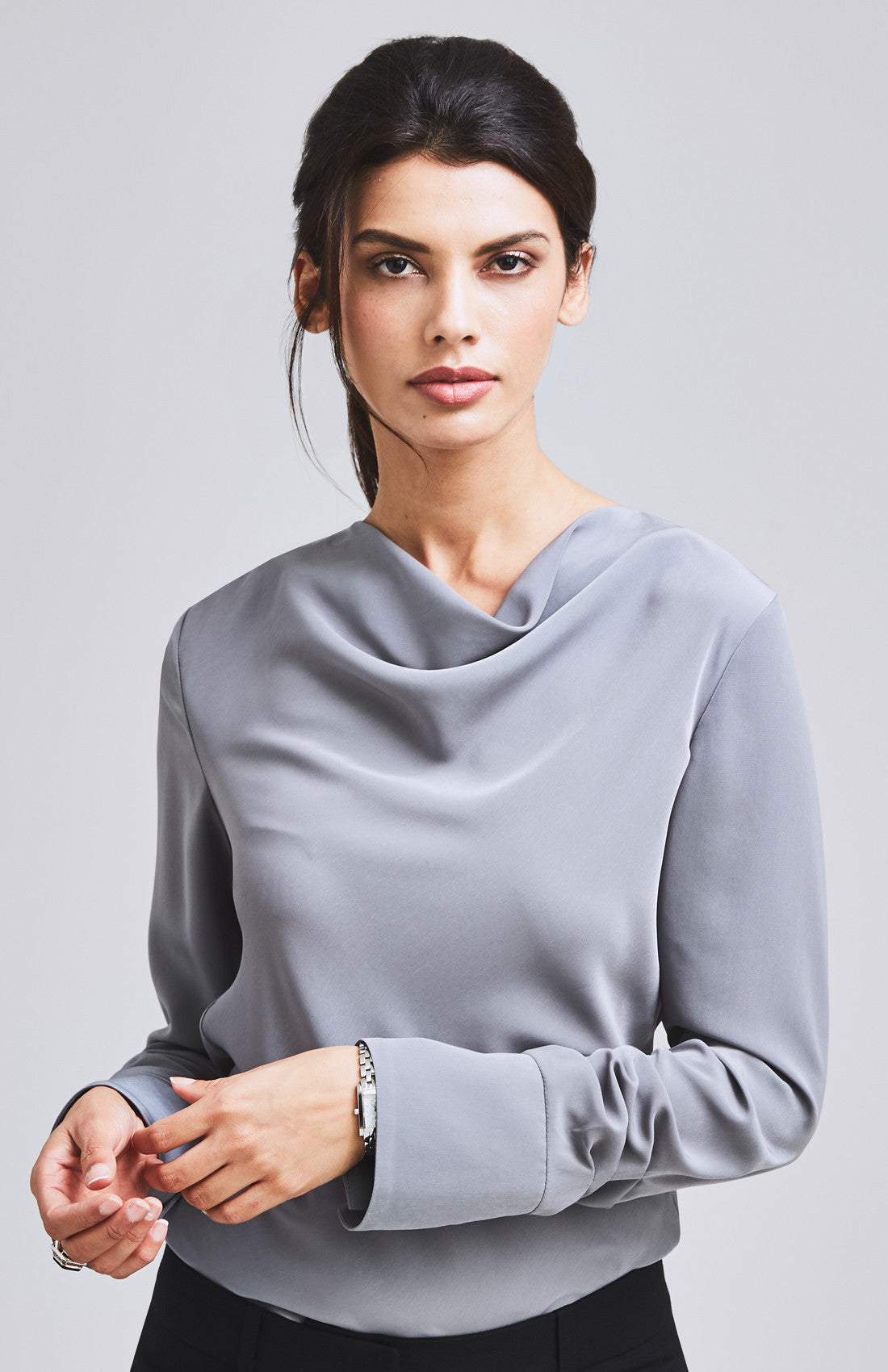 ASSERTIVE COWL NECK & RUCHED SLEEVE TOP GREY
