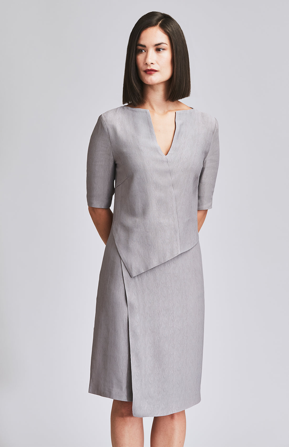 CERTAIN TEXTURED PEPLUM DRESS MINK GREY