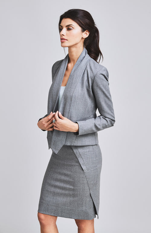 WORTHY DRAPE COLLAR TAILORED WOOL JACKET LIGHT GREY