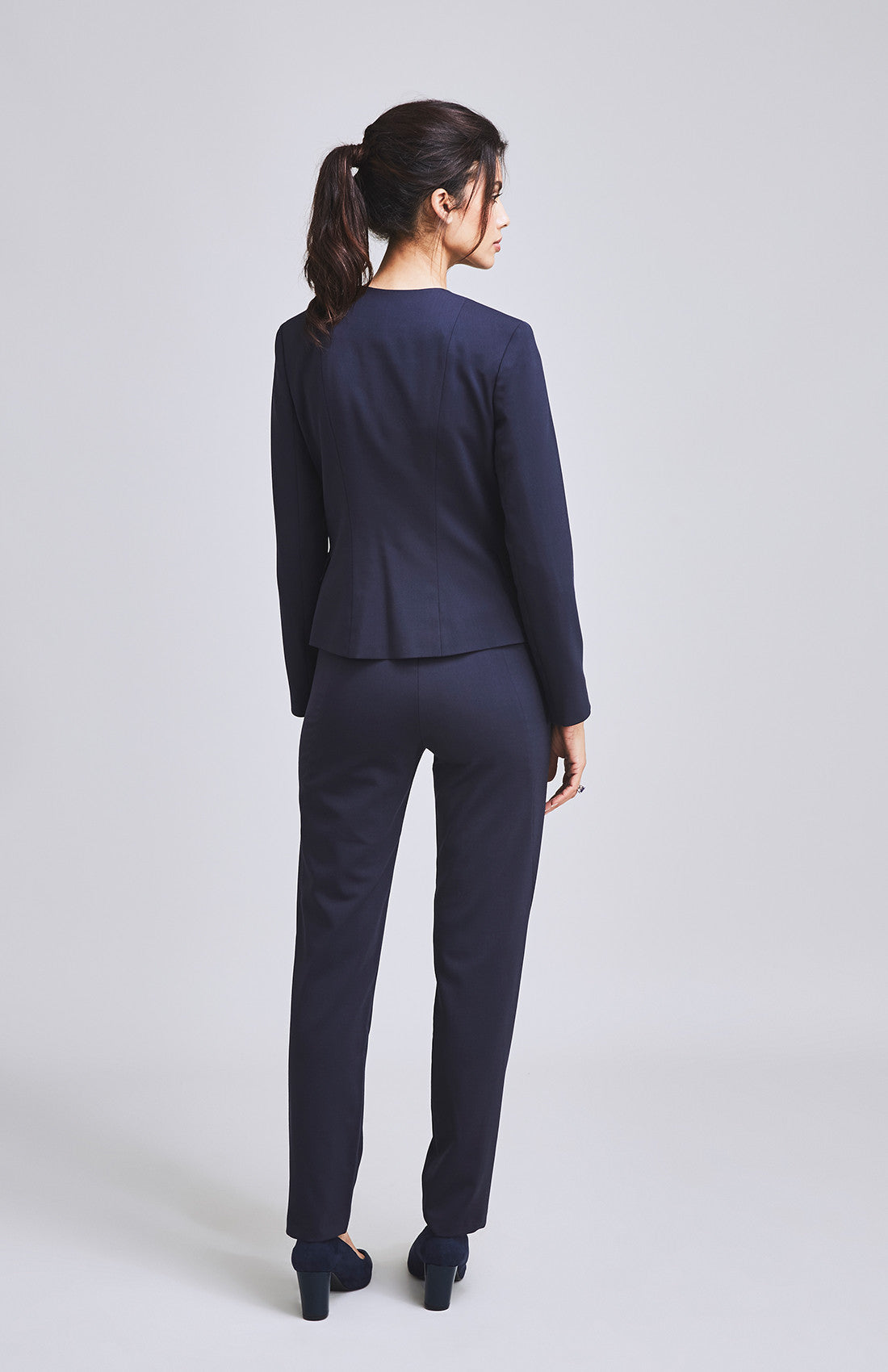 Navy cigarette pant suit for work