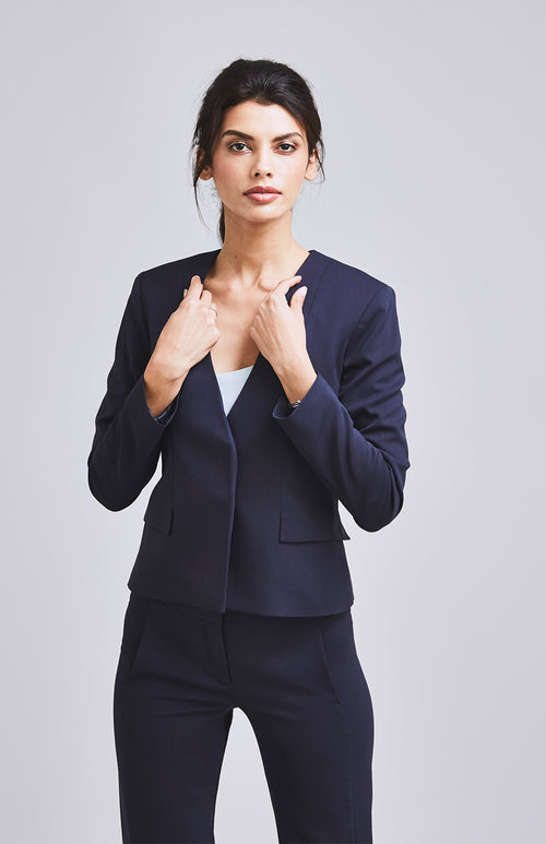 AMBITIOUS COLLARLESS FEMININE SUIT JACKET NAVY