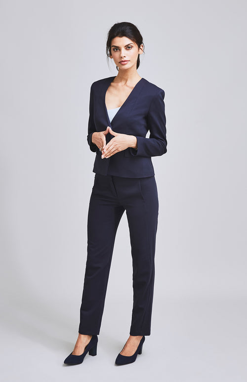 AMBITIOUS TAILORED SLIM-FIT SUIT TROUSER NAVY