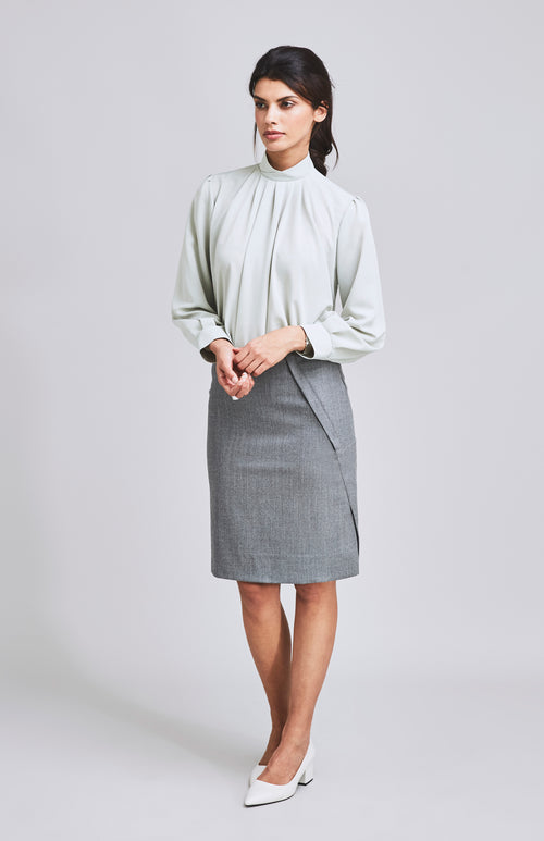 WORTHY SIDE SPLIT WOOL PENCIL SKIRT LIGHT GREY