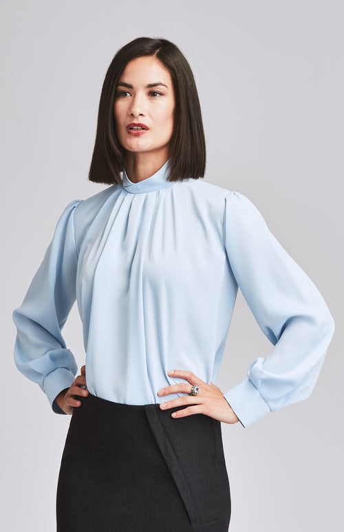 DETERMINED HIGH NECK DRAPE OFFICE BLOUSE LIGHT BLUE