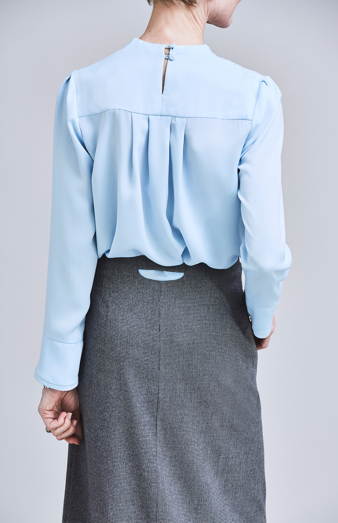 Herringbone wrap midi tailored office skirt with cutout for work