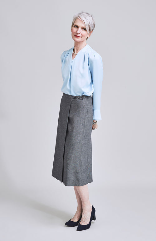 FEARLESS TAILORED MIDI WRAP HERRINGBONE MIDI SKIRT