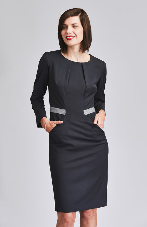 CONFIDENT TAILORED OFFICE DRESS WITH POCKETS DARK NAVY