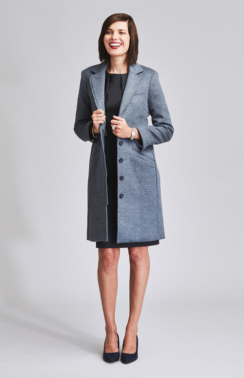 INDOMITABLE TAILORED WOOL COAT BLUE