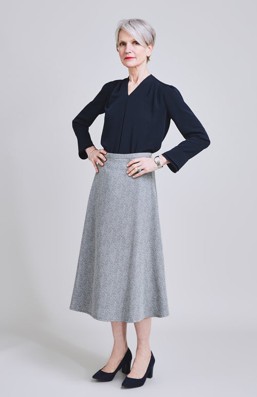 INTREPID FLARE MIDI SKIRT DARK GREY STRIPE