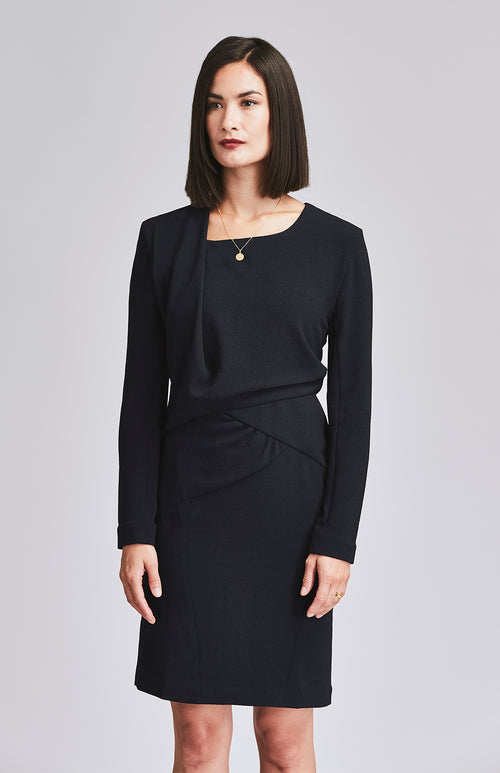 KNOWING DRAPE OFFICE DRESS NAVY