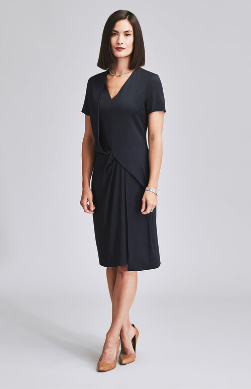 COMPOSED DRAPE OFFICE DRESS NAVY