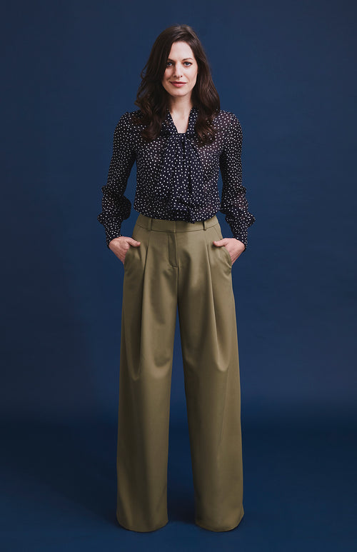 DIGNIFIED WIDE LEG TAILORED TROUSER GREEN