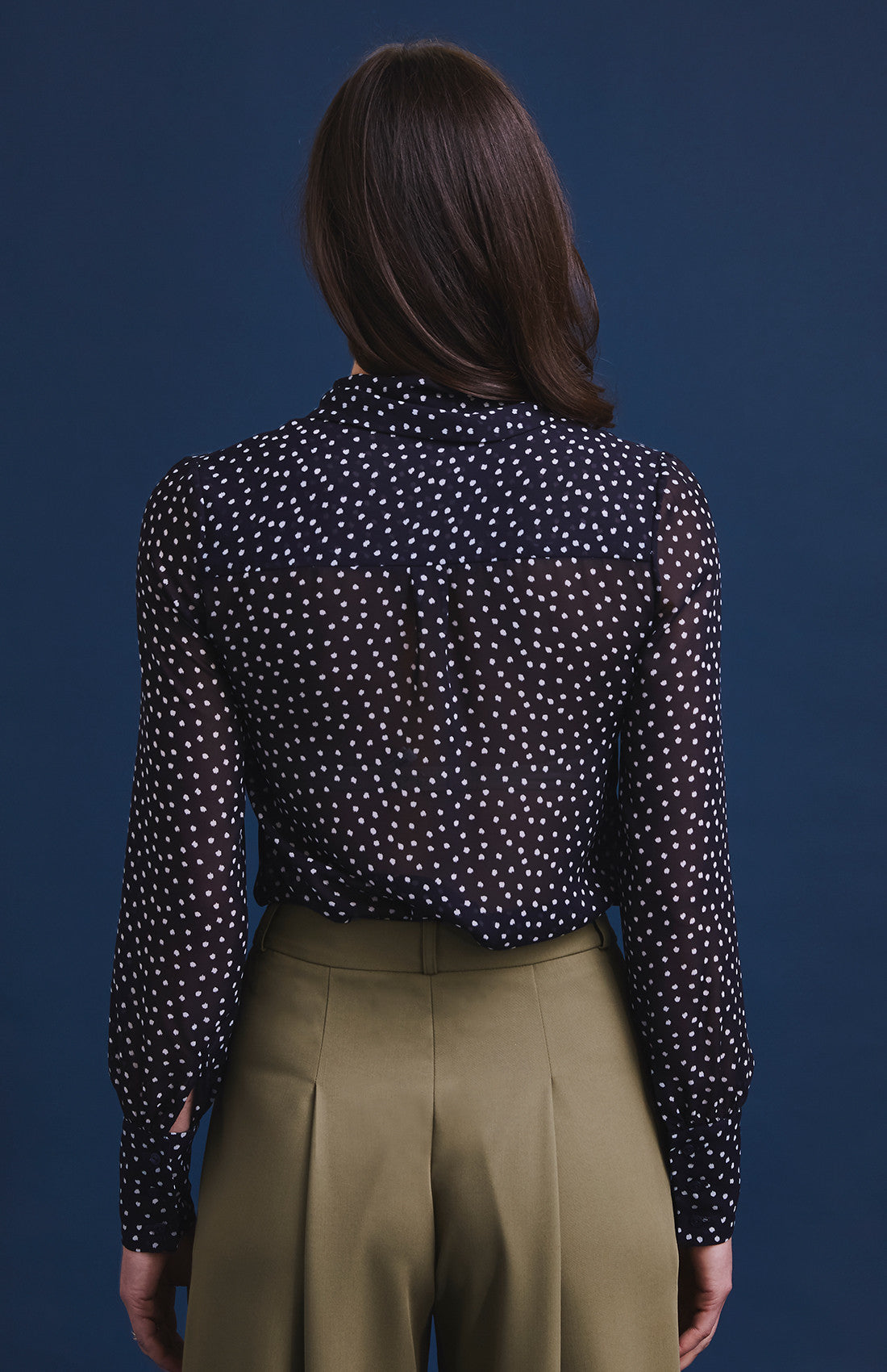 Luxury polka dot pussybow work blouse with balloon sleeves for the office navy and white