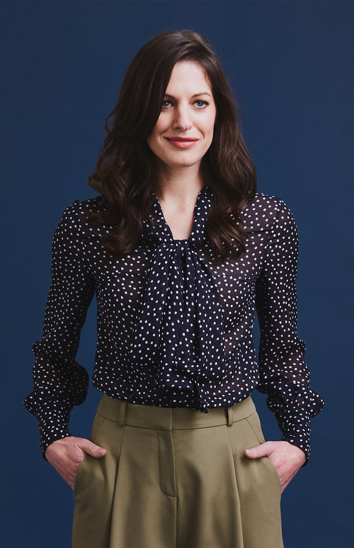 PROUD PUSSY BOW POLKA DOT BLOUSE NAVY