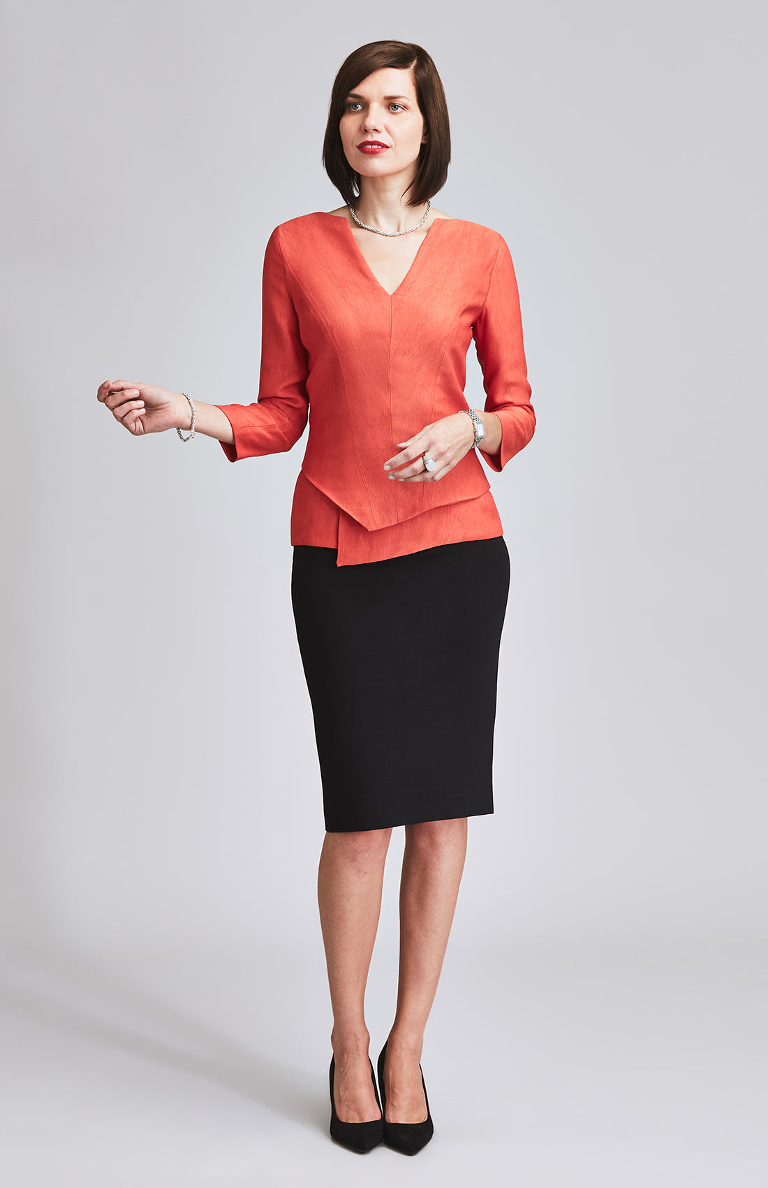 PROMINENT JERSEY MIDI PENCIL SKIRT BLACK