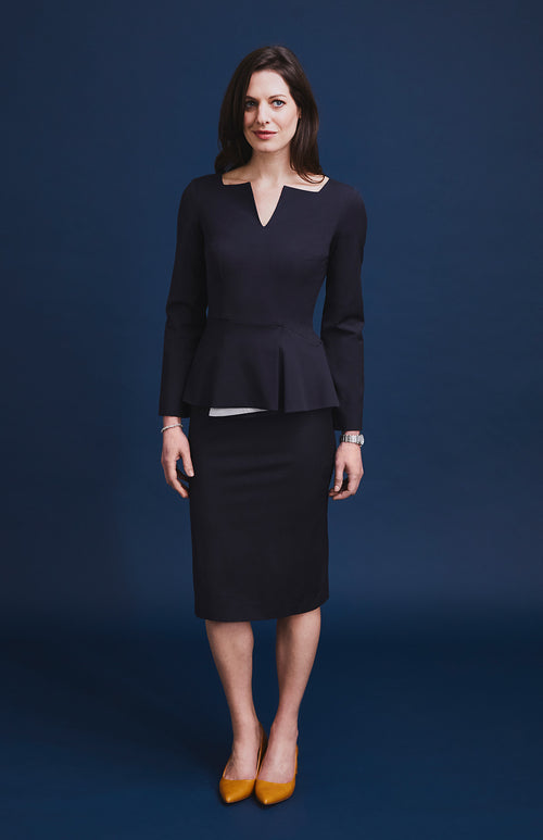 CONFIDENT TAILORED WOOL BLEND PEPLUM DRESS DARK NAVY