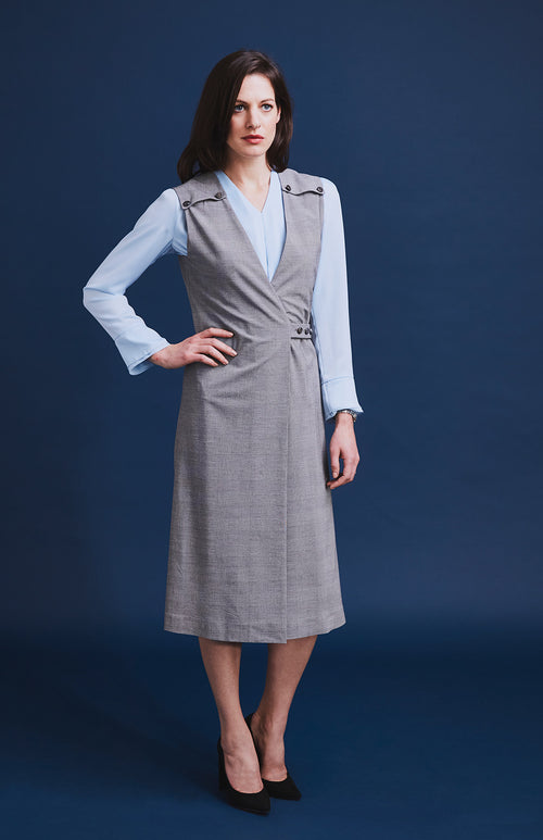 NOBLE PRINCE OF WALES CHECK WRAP-OVER PINAFORE