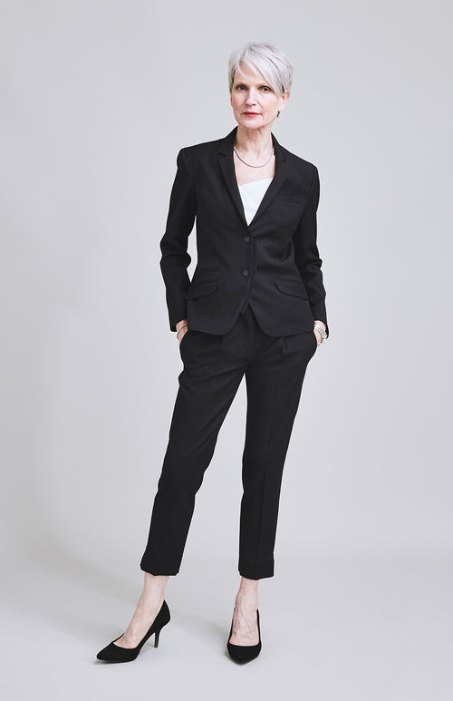 RESOLUTE CLASSICALLY TAILORED WOOL SILK CROPPED TROUSER BLACK