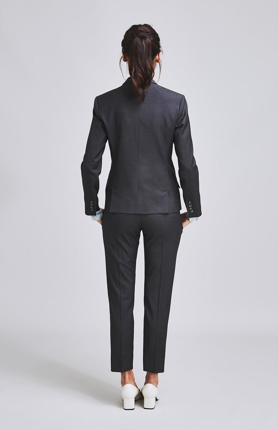 Women's luxury Savile Row style tailored suit jacket for the office charcoal grey